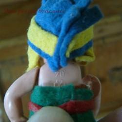Ancienne petite poupée celluloid marquée d'un trèfle Germany vintage