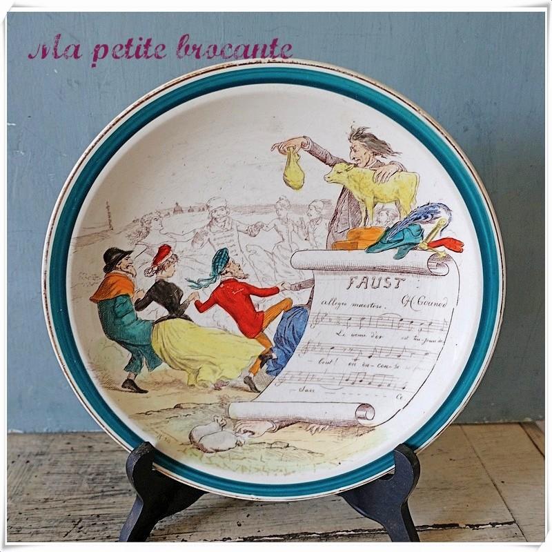Assiette ancienne Faust sujets musicaux Creil et Montereaux