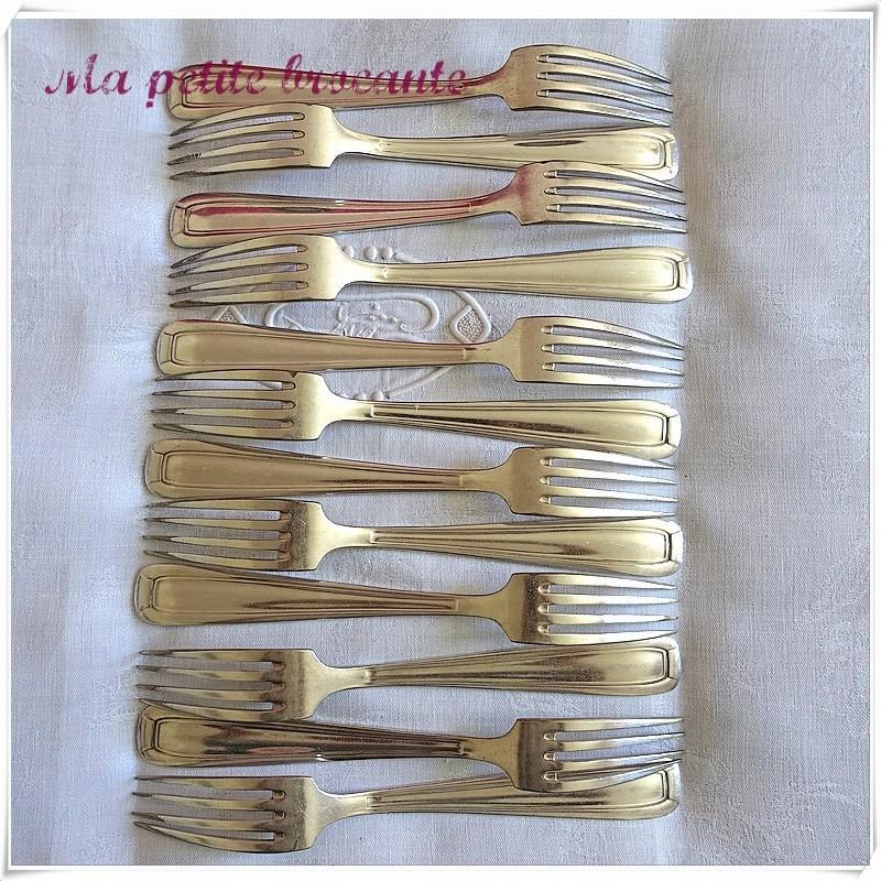 Douche fourchettes de table art déco orfèvre  Saglier Frères
