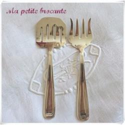 Pelle et fourchette à servir art déco orfèvre  Saglier Frères