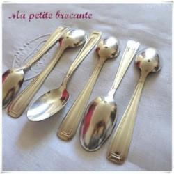 Lot de six cuillères à dessert art déco orfèvre  Saglier Frères