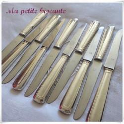Lot de dix couteaux à dessert art déco orfèvre  Saglier Frères