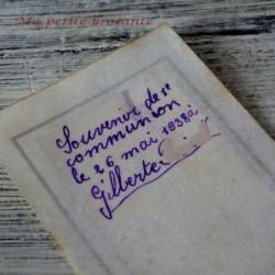 Belle carte celluloid Souvenir de communion 1938