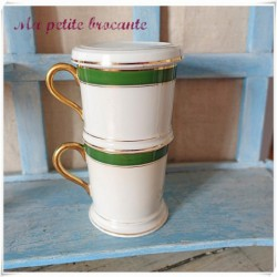 Tasse tisanière publicitaire en porcelaine de Limoges