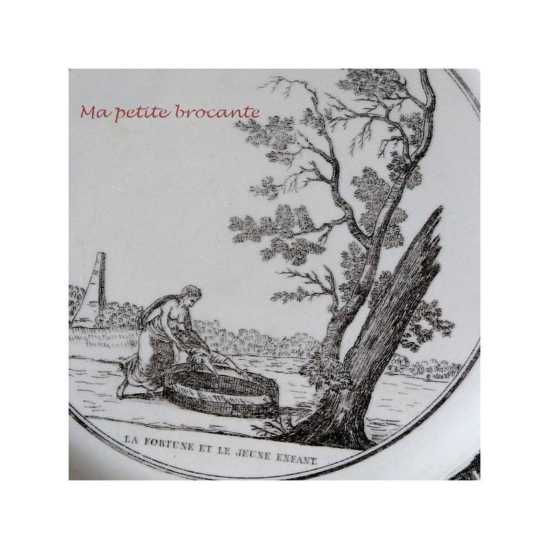 Assiette parlante vignette début XIXème P & H Choisy La fortune et le jeune enfant