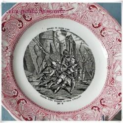 Assiette parlante Gien n°6 Histoire de Jeanne d'arc