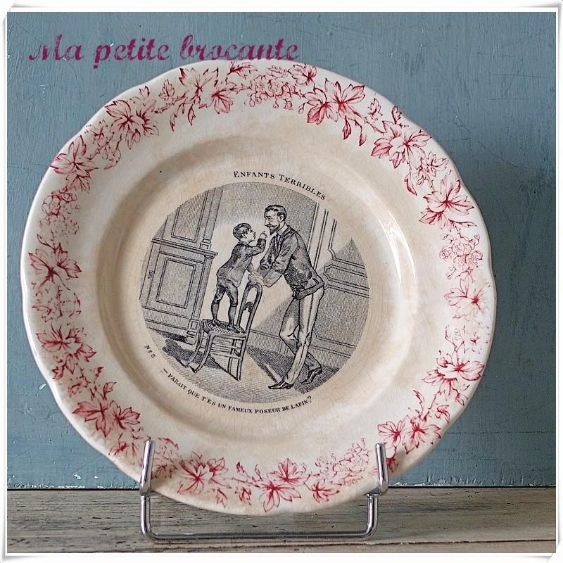 Assiette parlante  n° 5 série les enfants terribles en Creil & Montereau