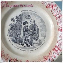 Assiette parlante  n°3 série les enfants terribles en Creil & Montereau
