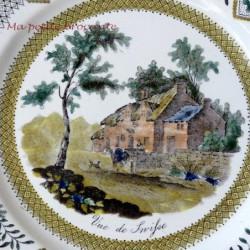 Assiette décorative vue de Snifse de la manufacture GIEN DEBUT XIXème