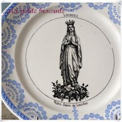 Assiette parlante Notre-Dame  de Lourdes Digoin & Sarreguemines