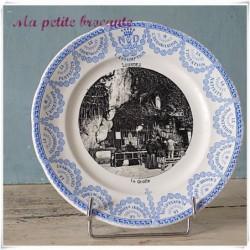 Assiette parlante la grotte de Lourdes Digoin & Sarreguemines