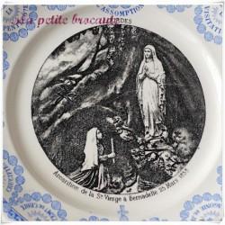 Assiette parlante l'apparition de la Sainte Vierge Lourdes