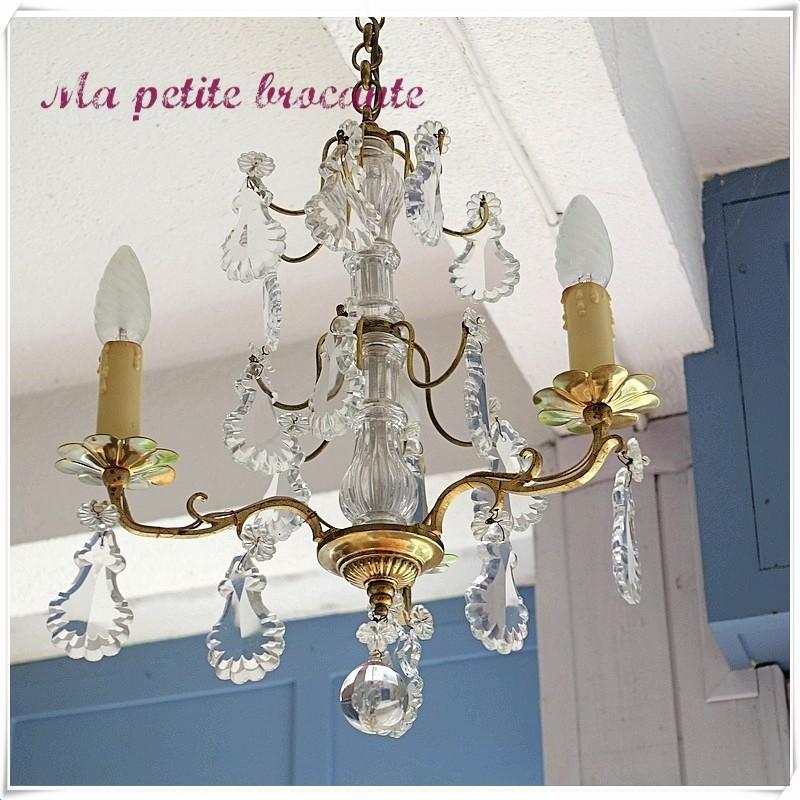 Lustre ancien pampilles verre style Louis XV