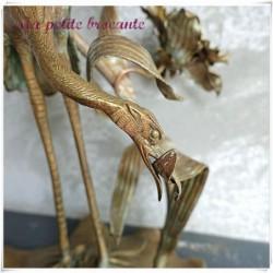 Bougeoir en bronze art nouveau héron sur nénuphar