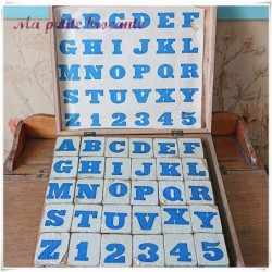 Boite de cubes ancienne : Cubes alphabétiques MJL