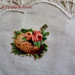 Chromo ancien thème Pâques fleurs dans un oeuf  rose