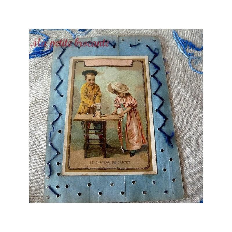 Carte recto verso chromos grande leçon de cornet et le château de cartes