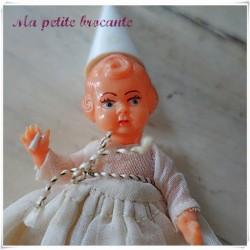 Poupée fée miniature en celluloïd déco de Noël