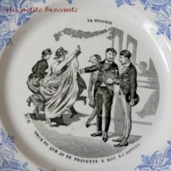 Assiette parlante vignette de la série Le divorce Creil et Montereau n° 6