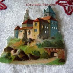 Chromo découpis gaufré décor de chateau