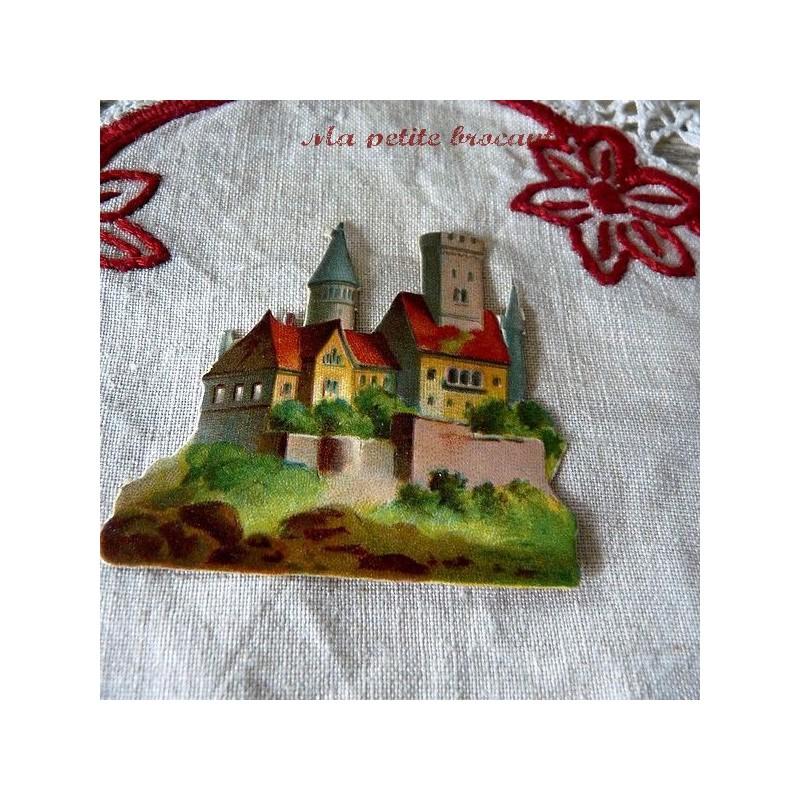 Chromo découpis gaufré décor de chateau village