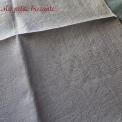 Ensemble de douze serviettes de table en damassé de lin monogramme EN