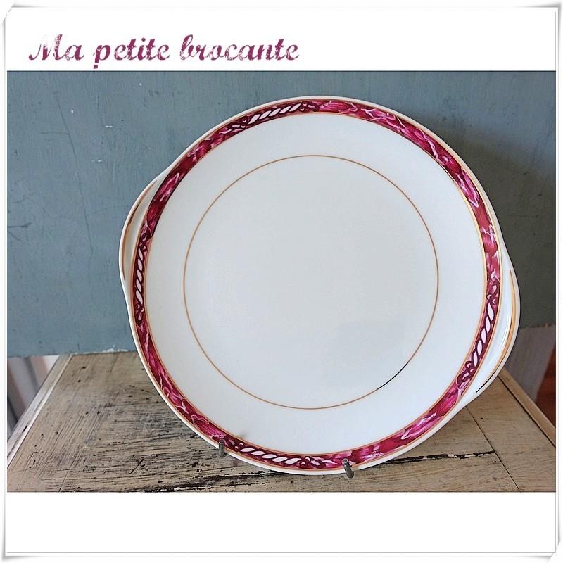 Plat à gâteau en porcelaine de Limoges Arnauld de Brissac