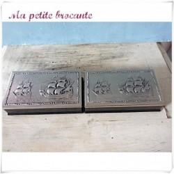 Deux coffrets de six petites cuillères argenté made in Holland