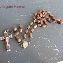 Ancien chapelet perles en bois christ croix