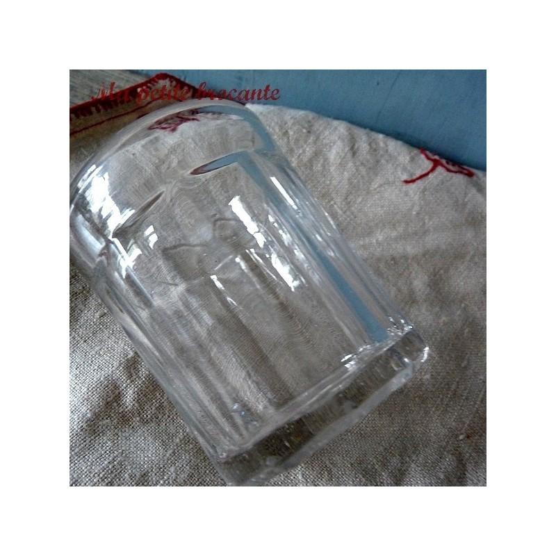 Pot de confiture très ancien en verre bullé