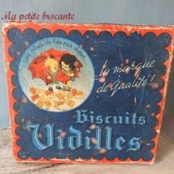 Boîte très ancienne de biscuits Vidilles