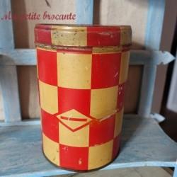 Belle boîte ronde en tôle damiers rouges lustucru Pâtes