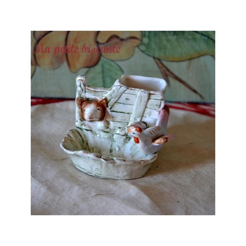 Adorable porcelaine décor d'ours et de poule