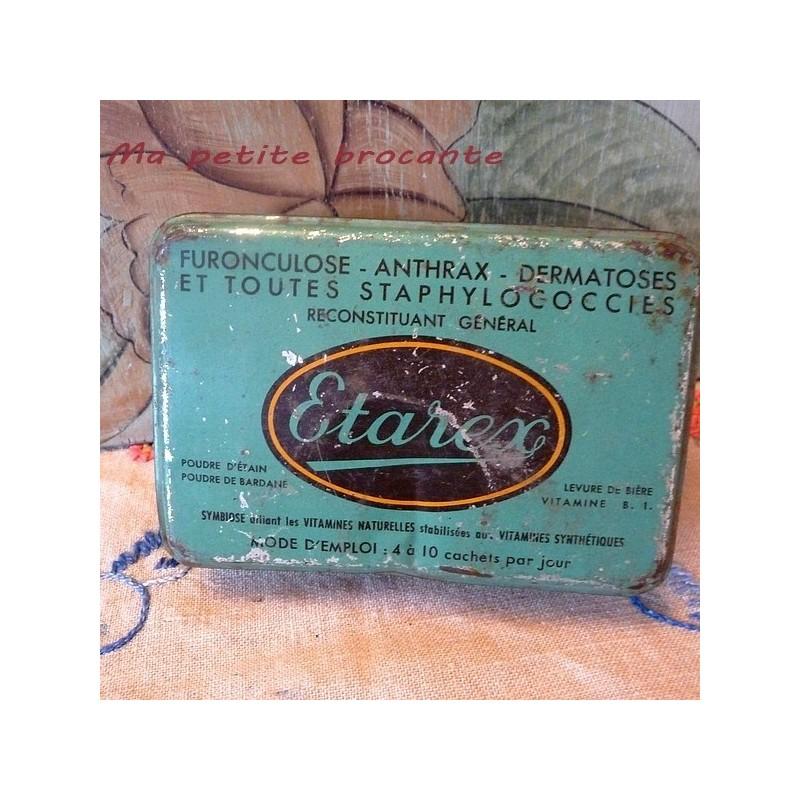 Boîte ancienne vide Etarex furonculose anthrax dermatoses...
