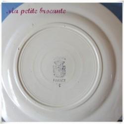 Assiette à dessert ancienne en faïence de Digoin & Sarreguemines rose bleue