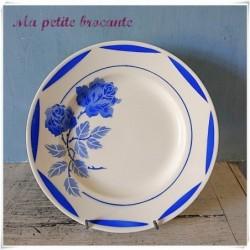 Ancienne assiette plate en faïence Elde Rosemonde bleu