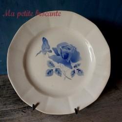 Assiette plate ancienne de Digoin & Sarreguemines modèle à la rose bleue