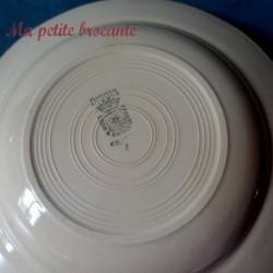 Assiette creuse ancienne de Digoin & Sarreguemines modèle à la rose bleue