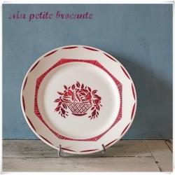 Ancienne assiette plate en faïence de Badonvillers Printemps