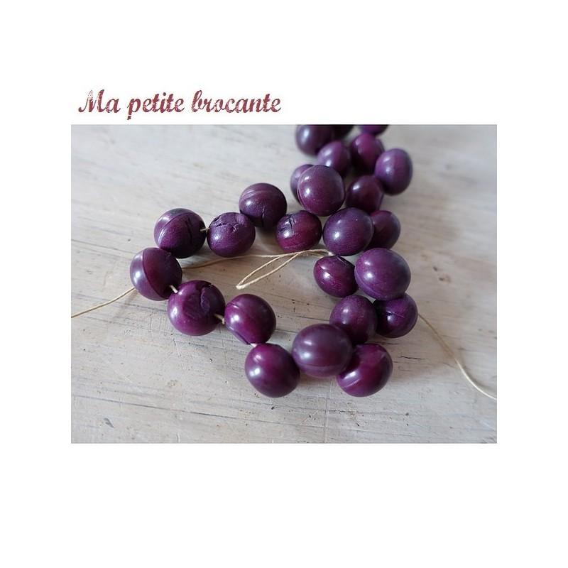 Lot de 25 petits boutons ronds couleur prune aubergine