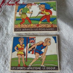 Lot de deux images Vache qui Rit les armes les sports