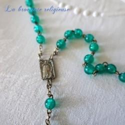 Chapelet ancien 59 perles vertes et métal argenté