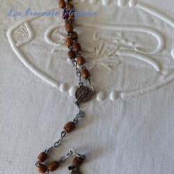 Chapelet ancien 59 perles en bois et métal argenté