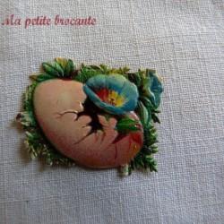 Chromo ancien thème Pâques fleurs dans un oeuf  fleur bleue