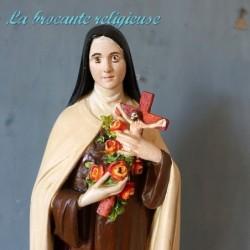 Sainte Thérèse de Lisieux plâtre polychrome H 42 cm