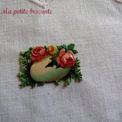Chromo ancien thème Pâques fleurs dans un oeuf blanc
