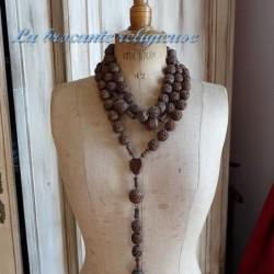 Enorme chapelet rosaire de moine en perles de bois 2m20