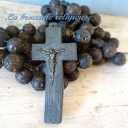 Enorme chapelet rosaire de moine en perles de bois 2m