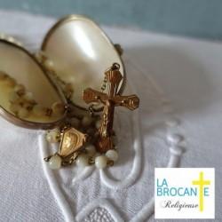 Etui œuf porte chapelet en nacre et pomponne XIXème