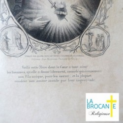Belle gravure sous verre de la vierge Marie Alcan